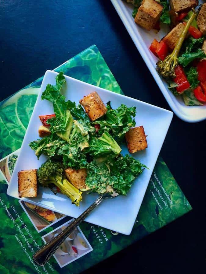 Garlicky Kale Salad with Balsamic Tofu and Broccoli