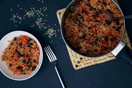 Mexican Style Chipotle Rice with Peppers, Tomatoes and Black Beans