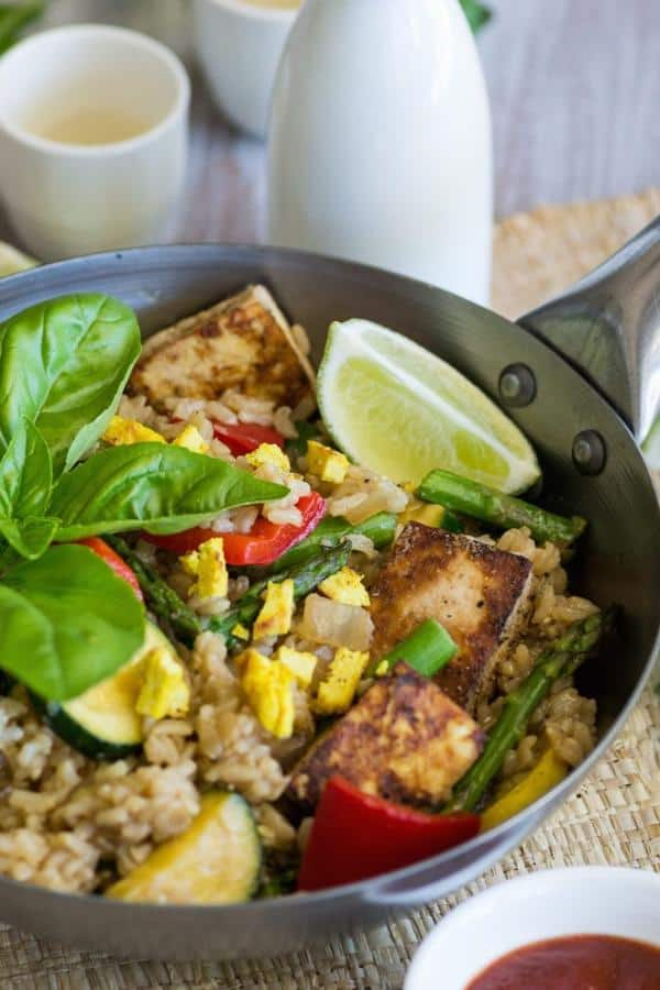 Oil-Free Vegetable Fried Rice with Baked Tofu