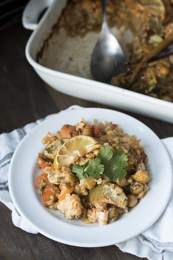 One Pan Harissa Vegetables, Rice and Chickpeas