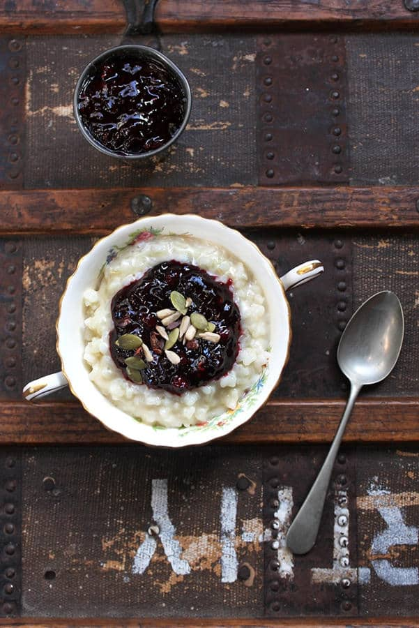 Rice Pudding with Winter Spiced Berry Compote