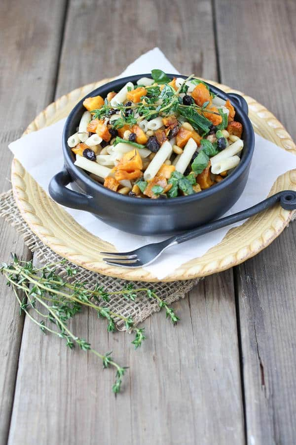 Roasted Butternut Squash and Spinach Pasta