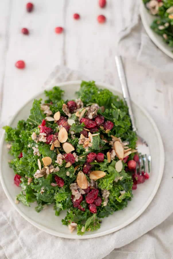 Roasted Cranberry, Wild Rice and Kale Salad