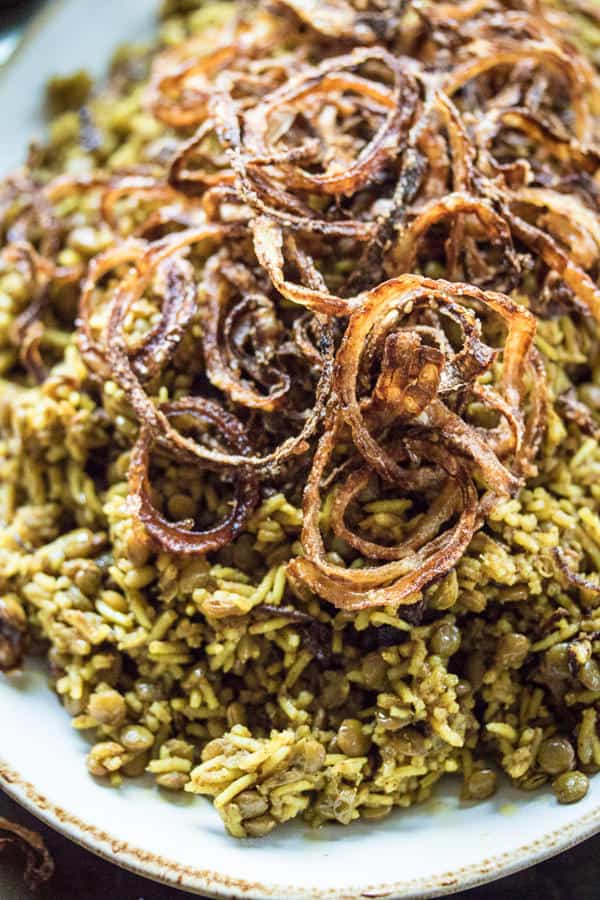 Spiced Lentils and Rice with Fried Onions