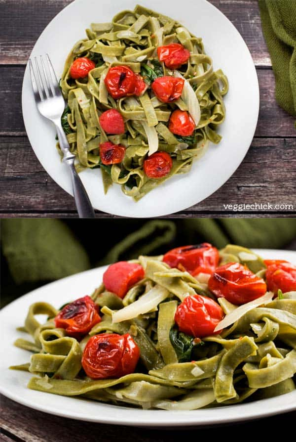 Spinach and Fennel Fettuccine with Roasted Tomatoes