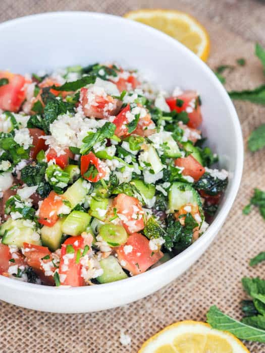 Tabouli Salad with Riced Cauliflower, Tomato, Cucumber and Herbs