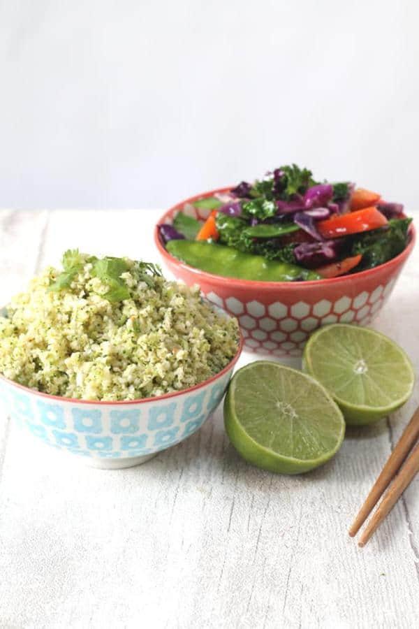 Thai Broccoli and Cauliflower Rice with Stir Fried Veggies
