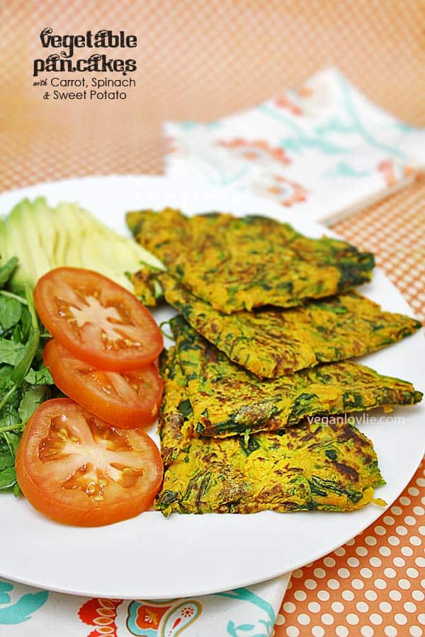 Vegetable Pancakes with Carrot, Spinach and Sweet Potato
