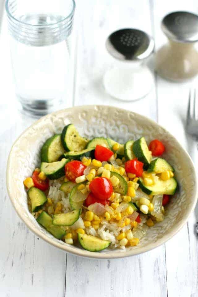 Zucchini, Corn, and Tomato Rice Bowls