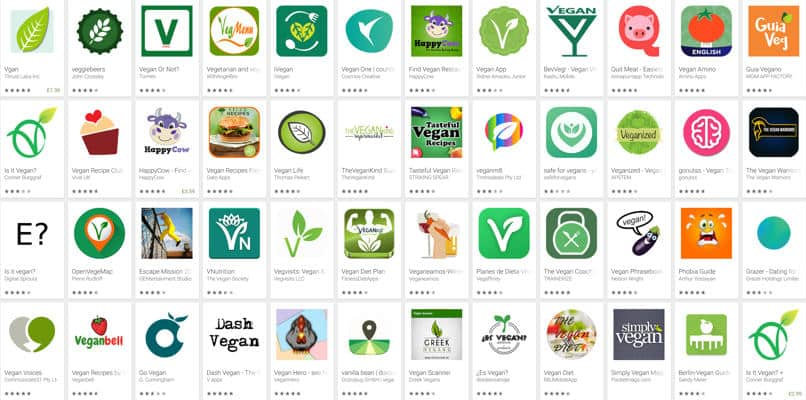 Selection of vegan apps