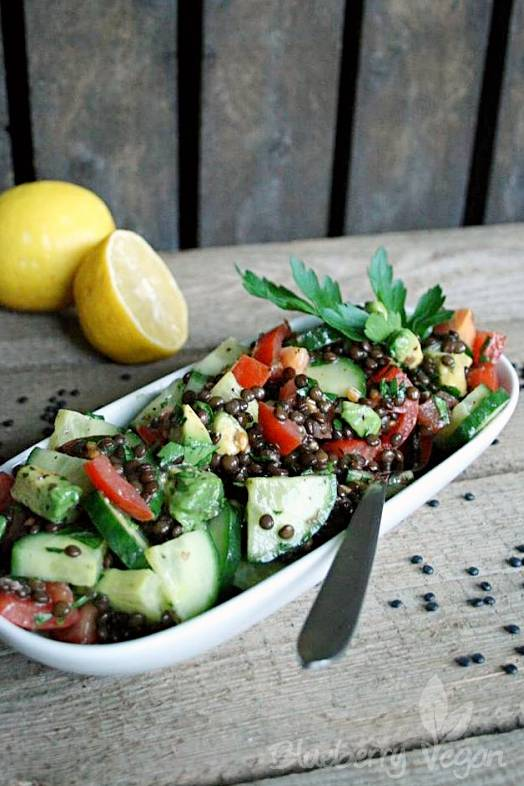 Beluga Lentils Salad with Avocado