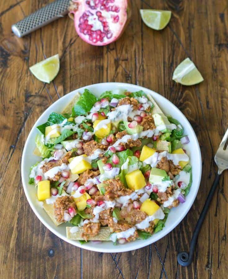 Chickpea Taco Salad with Pomegranate and Mango