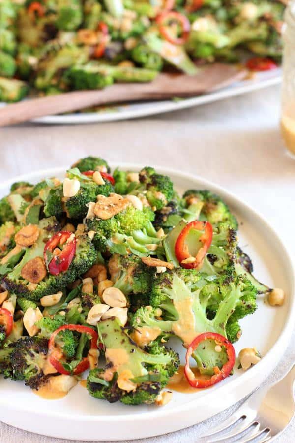 Spicy Broccoli Salad with Peanut Dressing