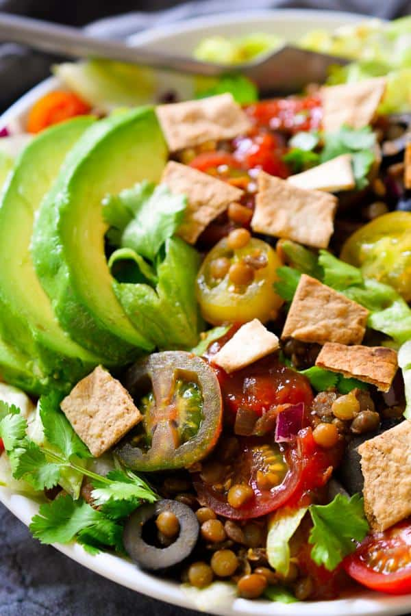 Taco Salad with Lentils