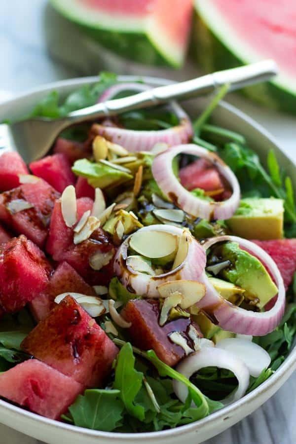 Watermelon Avocado Arugula Salad