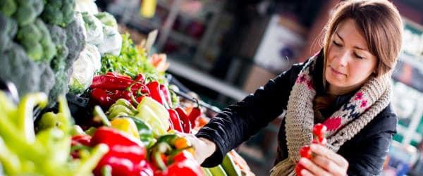 Woman shopping produce