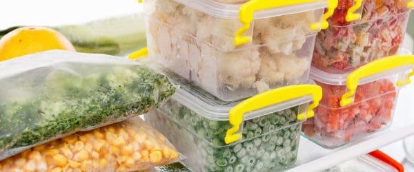 Frozen food in refrigerator