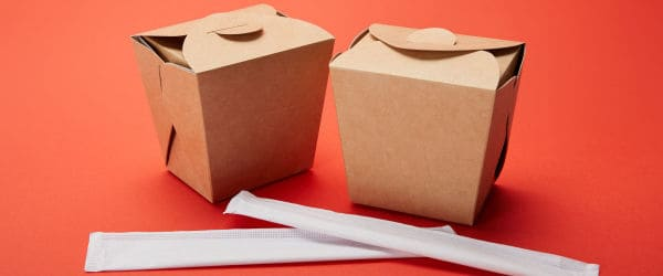 Two boxes of takeaway food