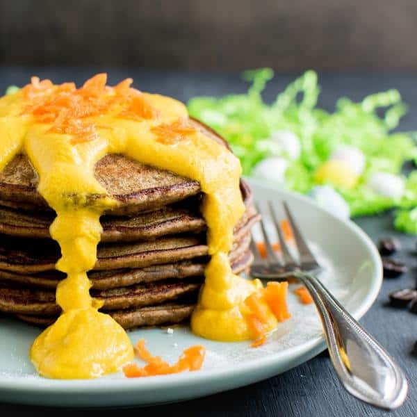 Coffee Quinoa Pancakes with Carrot Frosting