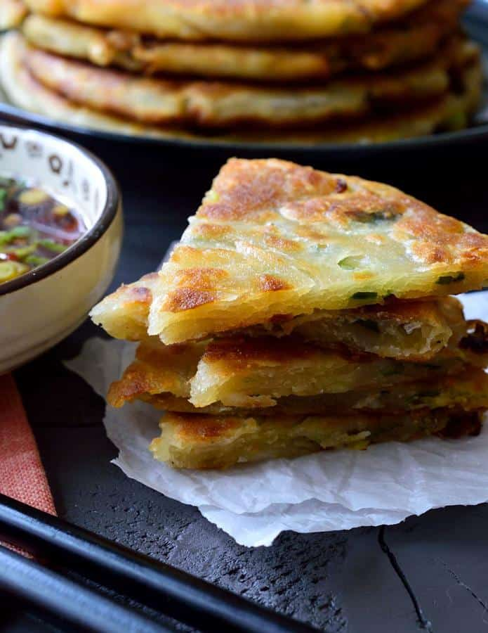 Scallion Pancakes with Ginger-Soy Dipping Sauce