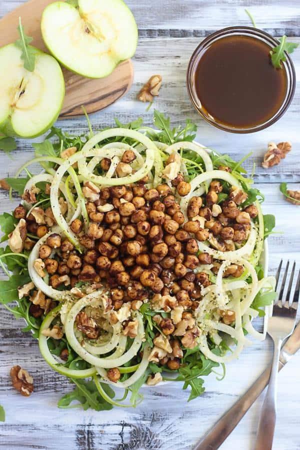 Apple Arugula Salad With Cinnamon Roasted Chickpeas