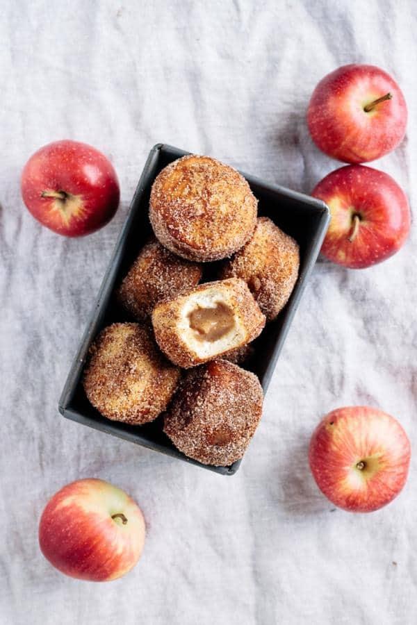 Apple Butter Filled Cinnamon Sugar Doughnuts
