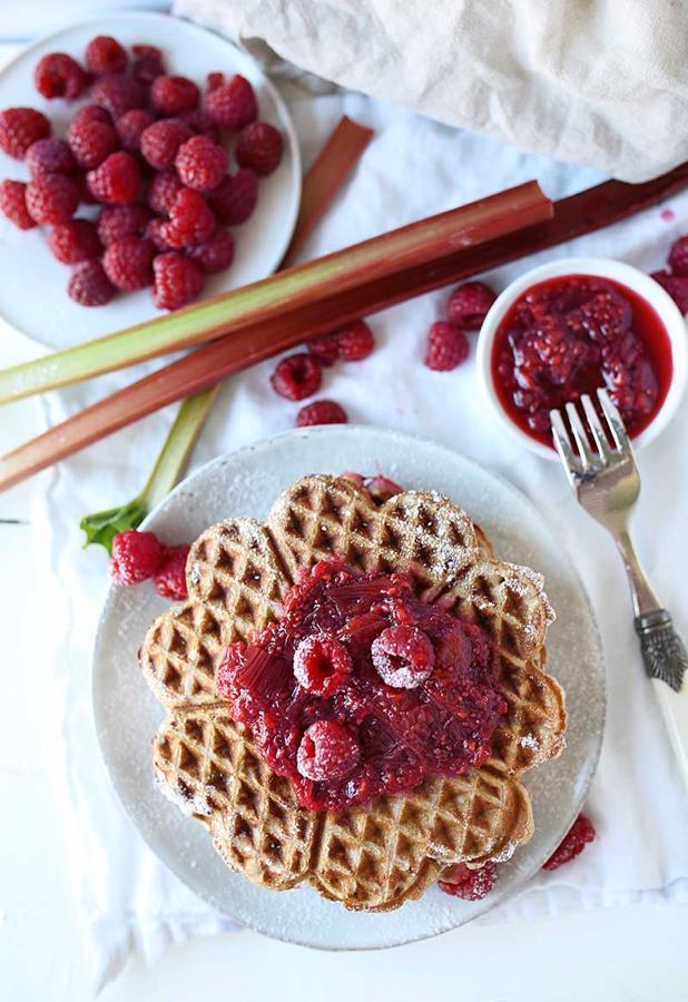 Buckwheat Waffles with a Rhubarb-Raspberry Compote