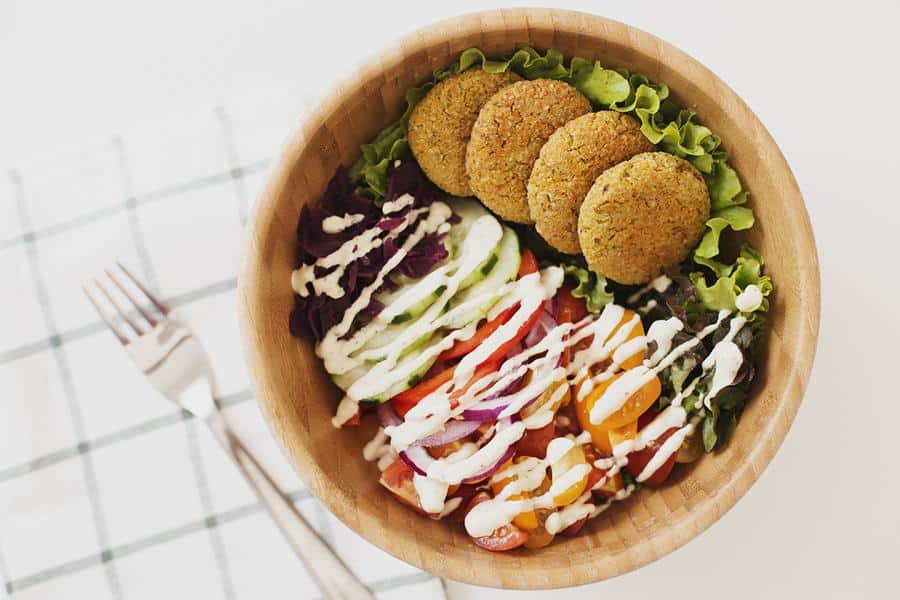 Carrot and Lemon Baked Falafel Salad Bowl with Lemon and Tahini Dressing