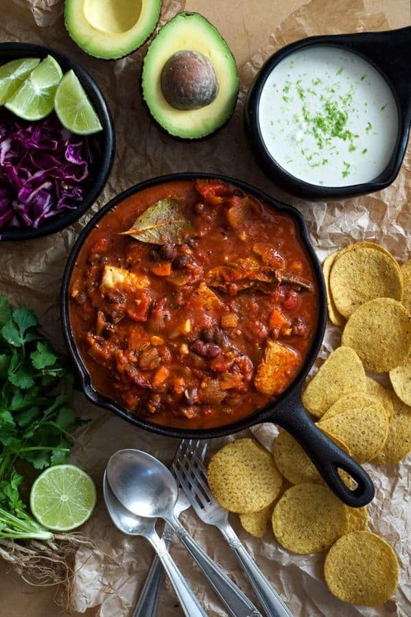 Chili Con Tempeh with Lime Creme