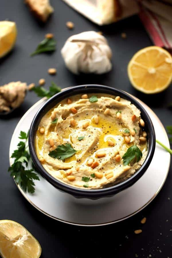 Creamy Artichoke, Leek and White Bean Hummus