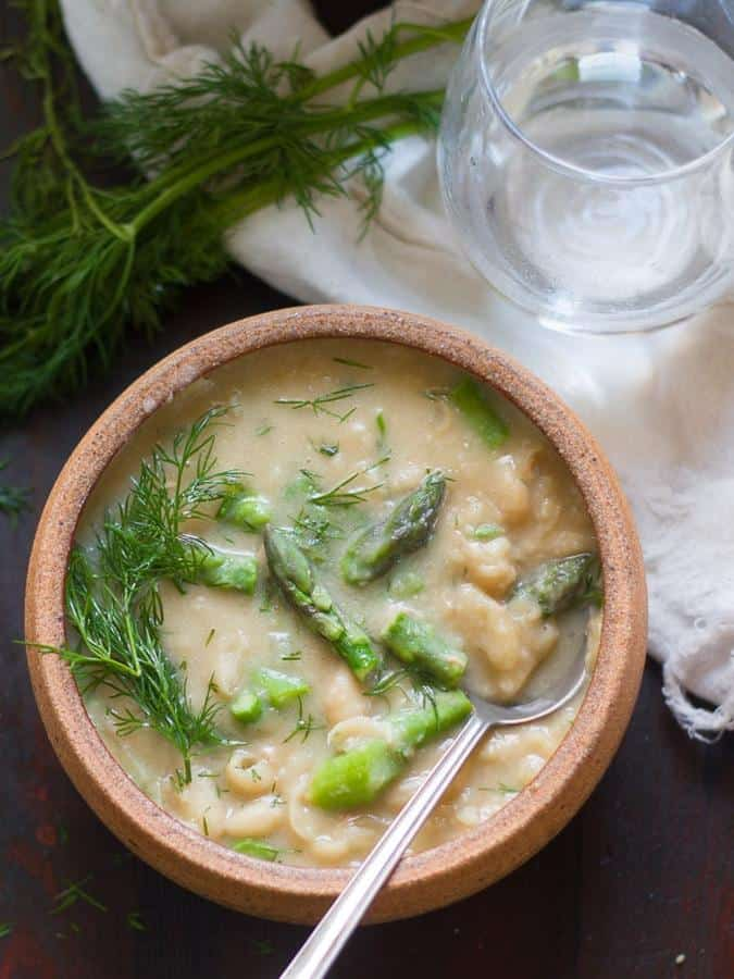 Creamy White Bean, Asparagus and Dill Soup