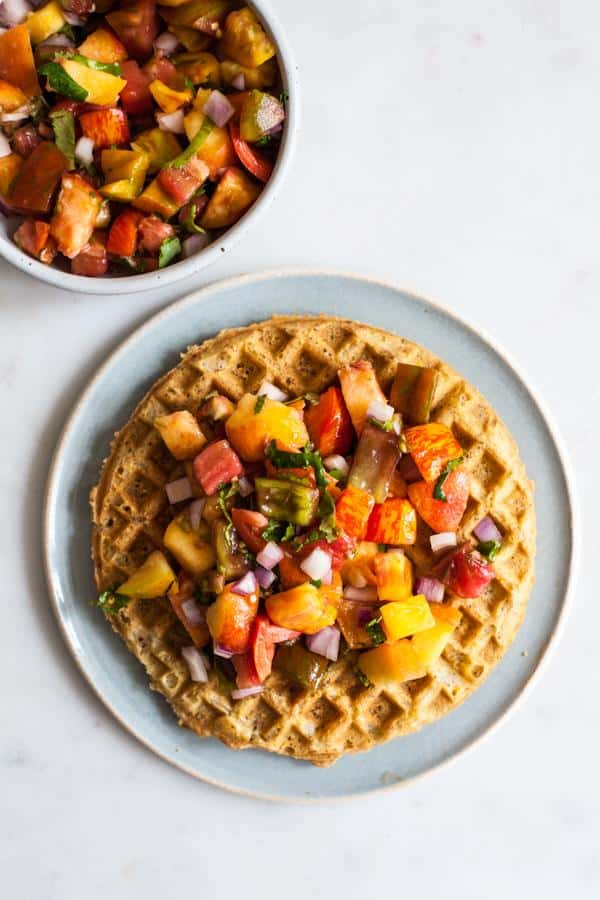 Crispy Cornmeal Waffles with Heirloom Tomato Peach Salsa