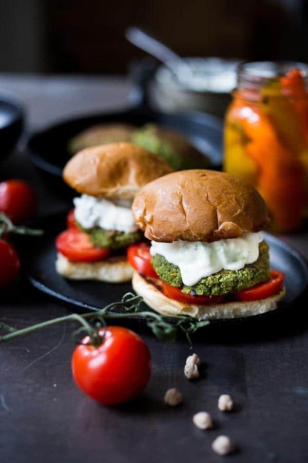Falafel Burgers with Tzatziki Sauce