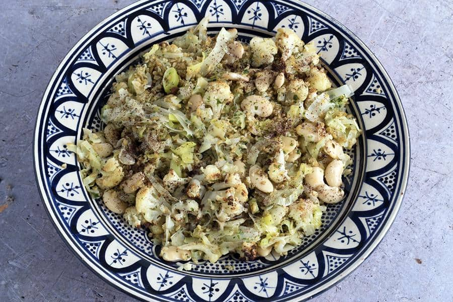Freekeh Salad with Cauliflower, Leeks and Butterbeans