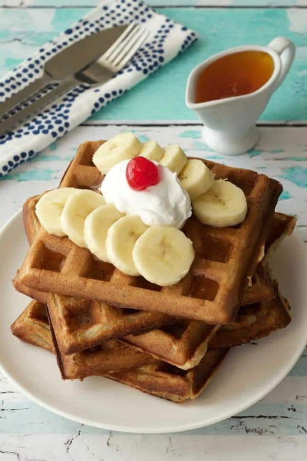 Golden Brown and Crispy Banana Waffles