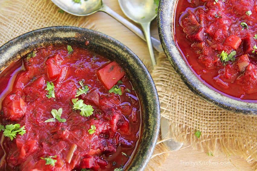 Leek and Beetroot English Winter Soup Recipe with Garden Herbs