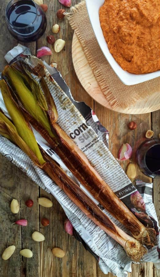 Leek Calçotada with Romesco Sauce