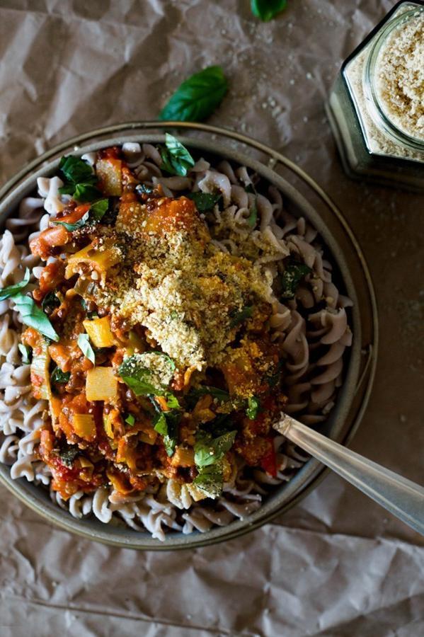 Lentil and Leek Ragù with Sun Cashew Parmesan