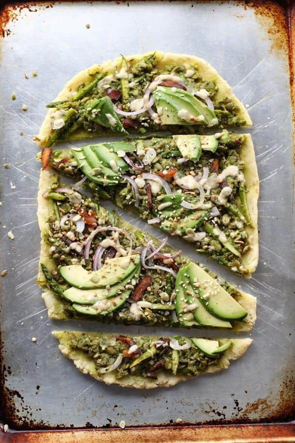 Pesto and Asparagus Flatbread with Tahini Dressing