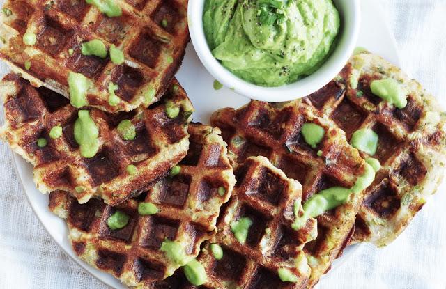 Potato and Leek Waffles with Avocado Dip