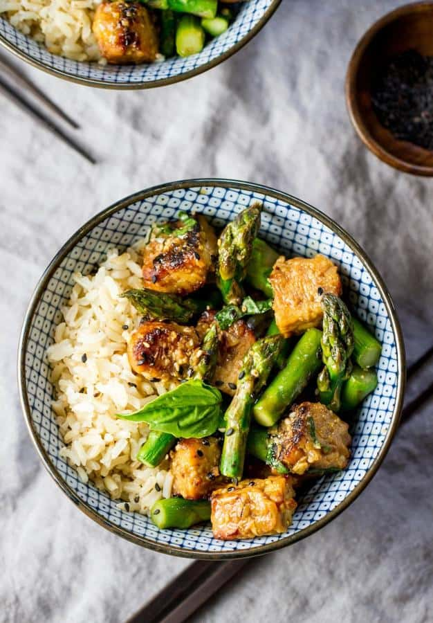 Roasted Orange Tempeh and Asparagus