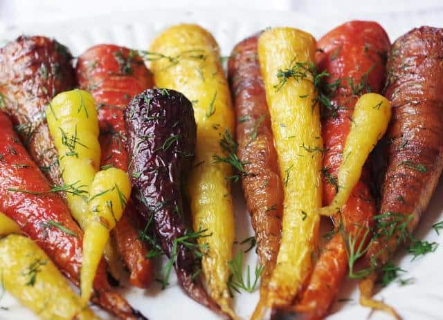 Roasted Rainbow Carrots with Maple and Dill