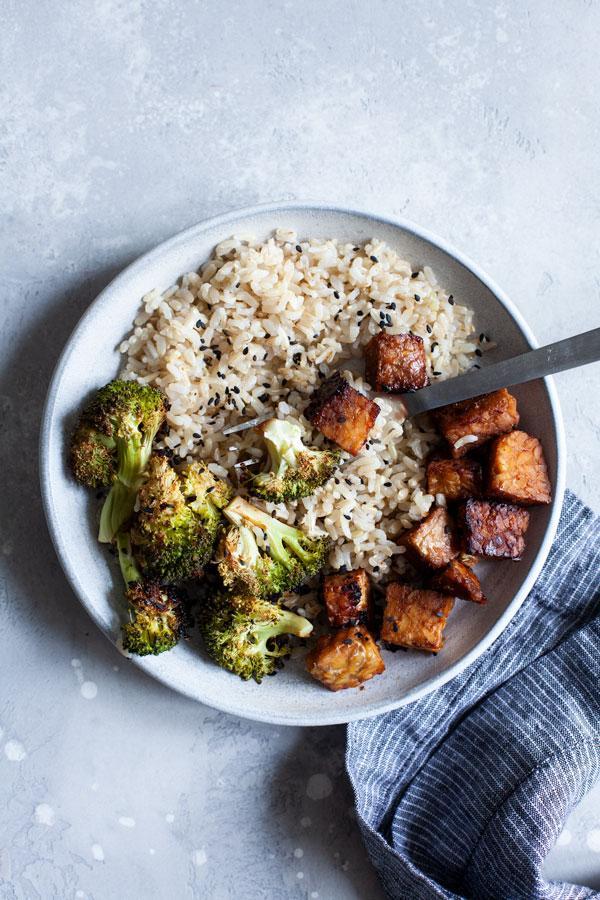 Sheet Pan Tamari Glazed Tempeh and Broccoli