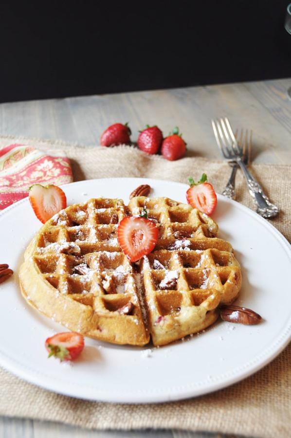 Southern Strawberry Pecan Waffles