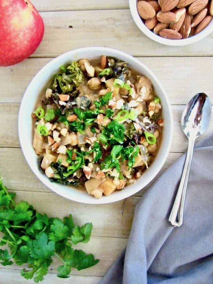 Spicy Apple, Almond, Kale and Chickpea Stew