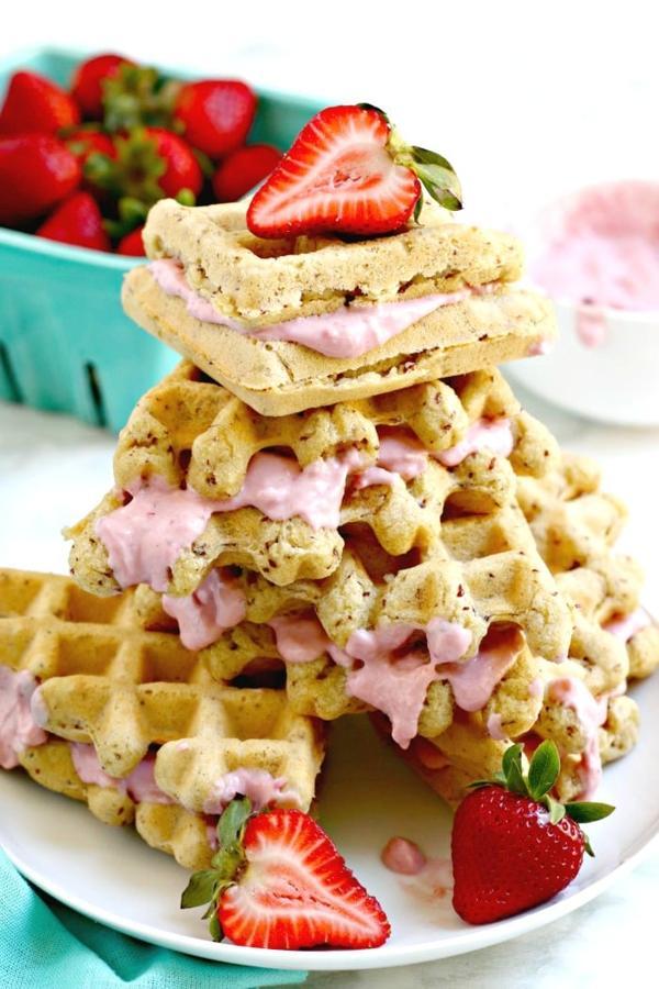Strawberry Cream Cheese Waffle Sandwiches