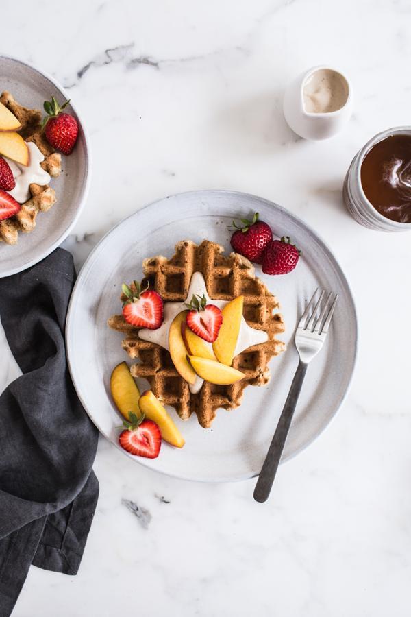 Vanilla Waffles with Vanilla Maple Cashew Cream